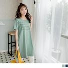 《AB6446》高含棉英文燙印反褶袖長版...