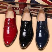 漆皮尖頭男鞋 英倫低幫鉚釘皮鞋 亮面休閒鞋【五巷六號】x303