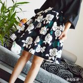 中大尺碼 新款印花半身裙女高腰顯瘦百褶裙中長款半身裙 ZQ1442『夢幻家居』