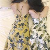 露背洋装 連身裙韓風新款菠蘿收腰顯瘦印花性感交叉露背中長吊帶裙