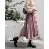 波點半身裙女秋冬季金絲絨冬天配毛衣冬裙加厚紗裙半身長裙子 伊蘿