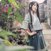 古風漢元素服飾日常改良古裝漢服夏新款女裝雨信繡花半裙套裝