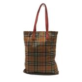 BURBERRY 巴寶莉 米色格紋帆布肩背包 購物袋 【二手名牌BRAND OFF】