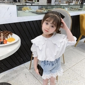 女童夏裝短袖娃娃衫2020新款兒童韓版套頭襯衫寶寶洋氣小香風上衣 漾美眉韓衣