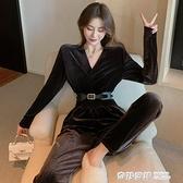 新款金絲絨連身褲寬鬆闊腿褲高腰褲子直筒哈倫褲休閒褲女裝 奇妙商鋪