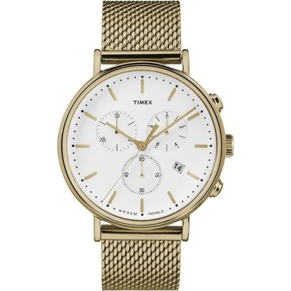 TIMEX 天美時 全金大錶面三眼三環金錶x41mm 冷光夜光面板 TXTW2R27200 公司貨|名人鐘錶