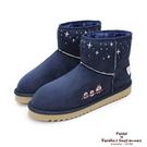 Paidal x 卡娜赫拉的小動物 雪花飛電繡內鋪毛短筒雪靴-深藍