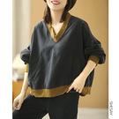 純棉T恤女 V領長袖衛衣 拼色休閒T恤-夢想家-0917