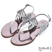 DIANA摩登時尚--層次細帶線條T字夾腳涼鞋(灰)★特價商品恕不能換貨★