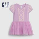 Gap嬰兒 甜美風格拼接紗裙洋裝 593670-淺紫色