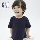 Gap幼童裝 厚磅密織系列碳素軟磨 純棉短袖T恤 755461-海軍藍