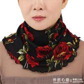 圍脖女套頭春夏季防曬薄款小絲巾假領子廣場舞百搭護頸椎裝飾圍巾  ◣怦然心動◥