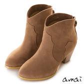 amai絨面流蘇拉鏈西部短靴 棕