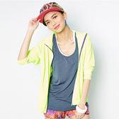 FIVE UP 亮麗彩艷吸排抗UV風衣連帽外套-螢黃