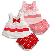 短袖套裝 蝴蝶結上衣 + 點點褲二件式 女寶寶包屁衣 CA3382 好娃娃