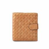 【BV/ BOTTEGA VENETA】山羊皮編織 零錢袋短夾(霧金)BV23000025
