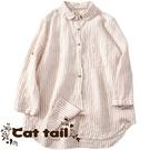 《貓尾巴》KT-0685 復古條紋翻領短...