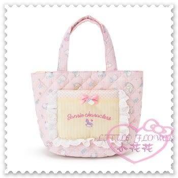 ♥小花花日本精品♥Hello Kitty Sanrio三麗鷗棉質手提袋粉色嬰兒黃條紋奶瓶純真無邪系列 (預購)