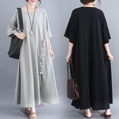 中大呎碼 大碼洋裝 夏裝新款洋氣寬鬆減齡腰粗遮肚子時髦長裙女
