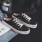 一腳蹬懶人鞋 半拖帆布鞋女學生夏季新款無後跟懶人鞋韓版一腳蹬小白鞋百搭布鞋 交換禮物