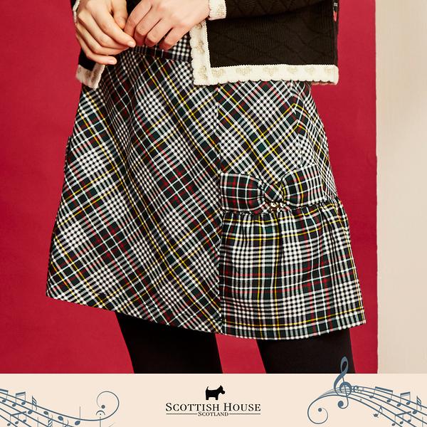 【Scottish House】 蝴蝶結 剪接 A字 格短裙 (AN2121)