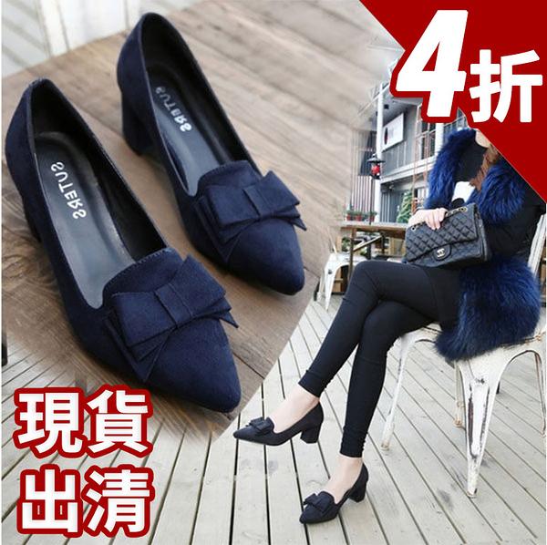 蝴蝶結娃娃鞋-甜美時尚  韓版流行款  氣質蝴蝶結尖頭鞋 【AN SHOP】