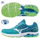 美津濃 MIZUNO  女跑鞋  WAVE RIDER 21  (湖綠)  寬楦  雲波浪款路跑鞋 J1GD180607【 胖媛的店 】