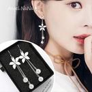 耳環《可改耳夾式》《可改S925銀針》花朵珍珠流蘇耳勾 (SRA0134) AngelNaNa