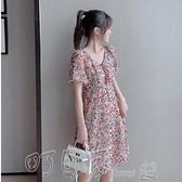 洋裝小雛菊連身裙2020新款雪紡碎花裙女夏裝小香風法式初戀裙小個子 町目家