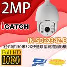 ICATCH可取 IN-SD2234Z-E 1080P紅外線150米32X快速球型網路攝影機 IP CAM