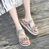 拖鞋女夏外穿時尚2018新款正韓涼拖真皮鬆糕鞋厚底休閒室外沙灘鞋
