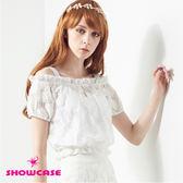 【SHOWCASE】二件式玫瑰蕾絲露肩上衣(白)