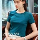 短袖T恤素色圓領休閒棉上衣(五色S-3XL可選)/設計家 AL310288