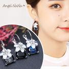 耳環-方塊水晶櫻花耳圈耳針 (SRA0087) AngelNaNa