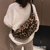胸包女秋冬新款毛毛單肩包挎包個性豹紋印花腰包ins超火運動包潮