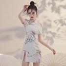 改良版旗袍2021年新款女夏季國潮新式年輕款少女小個子短款洋裝 喵小姐
