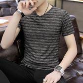男士V領短袖T恤青年修身上衣潮流純色男裝小汗衫韓版夏季半袖體恤 SG5207【極致男人】