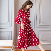 V領顯瘦小臉復古圓點開衩法式浪漫長袖洋裝[98901-QF]小三衣藏