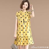 棉麻洋裝高含棉波點連身裙夏季新款短袖荷葉裙中長款寬松顯瘦立領A字 快速出貨