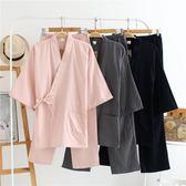 日式睡衣春秋情侶男女漢和服棉麻套裝純棉雙層紗布日本汗蒸服大碼
