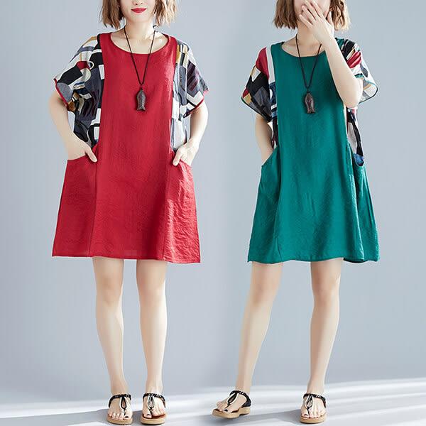 時髦袖口拼接花布洋裝-多尺碼 獨具衣格