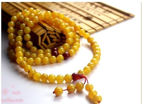 阜新純天然瑪瑙黃綠色108粒佛珠手鍊(圖一)