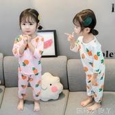 女童睡衣夏季套裝薄款1公主2純棉兒童家居服綿綢3歲4女寶寶春秋季 蘿莉小腳丫
