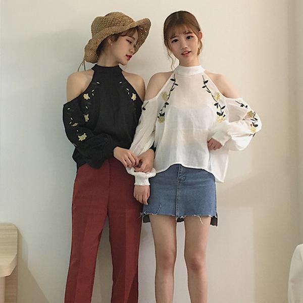 [超豐國際]春夏寬松顯瘦露肩花朵刺繡雪紡襯衫女裝學生長袖后背1入