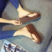 防滑涼拖鞋簡約沙灘拖鞋女夾腳拖厚底楔形厚底外穿舒適人字拖   可然精品鞋櫃