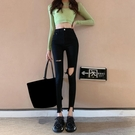 窄管褲 破洞牛仔褲女夏季褲子高腰小腳褲顯瘦黑色緊身鉛筆褲長褲-Ballet朵朵