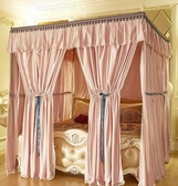 加厚遮光布床簾蚊帳支架歐式公主風床幔1.8m雙人家用防塵一體式