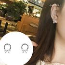 銀針耳環《可改耳夾式》甜美蝴蝶結水鑽圈圈耳針 (SRA0154) AngelNaNa