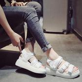 鬆糕厚底羅馬厚底楔形涼鞋女學生夏季時尚魔術貼沙灘鞋女 范思蓮恩