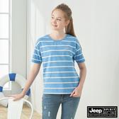 【JEEP】女裝 經典條紋短袖TEE-天空藍